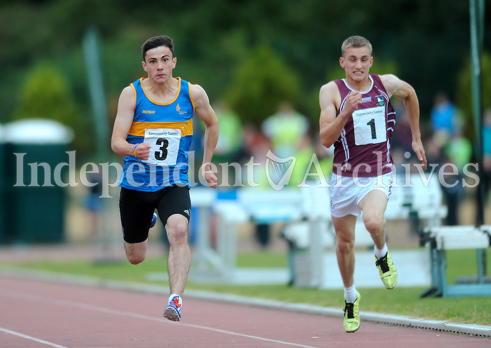 21 Aug 2016:  Adam Dooley, left, (finishing 2nd) from Tipperary, and Shane Coyle, from Galway, in the  Boys U16 100m Final. 2016 Community Games National Festival 2016.  Athlone Institute of Technology, Athlone, Co. Westmeath. Picture: Caroline Quinn