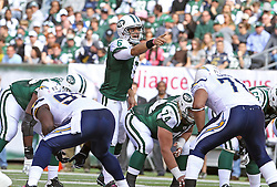 Oct 23, 2011; East Rutherford, NJ, USA; New York Jets quarterback Mark Sanchez (6) calls an audible during the first half at MetLife Stadium.
