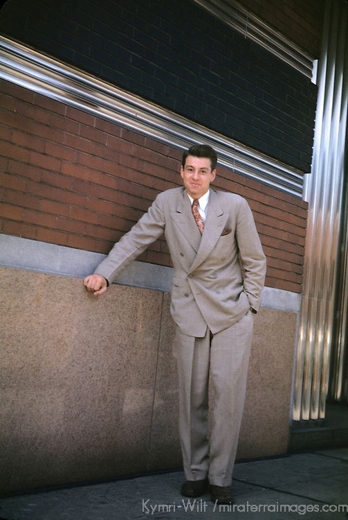 USA, Illinois, Chicago.  Vintage shot of young man in suit circa 1950's. Private collection.
