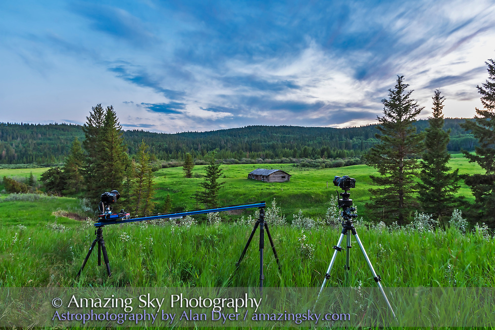Shooting time-lapses at the Symons-Noble Cabin in Cypress Hills Interprovincial Park, Saskatchewan, July 8, 2014.