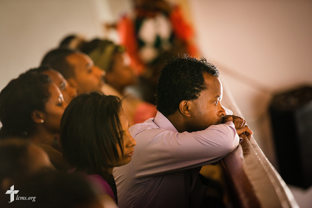 A man listens during worship at the EECMY Mother Church in Addis Ababa, Ethiopia, on Sunday, Nov. 9, 2014. LCMS Communications/Erik M. Lunsford