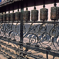 "Asia, Nepal, Kathmandu. Buddhist prayer wheels at Swayambhunath ""Monkey"" Temple."