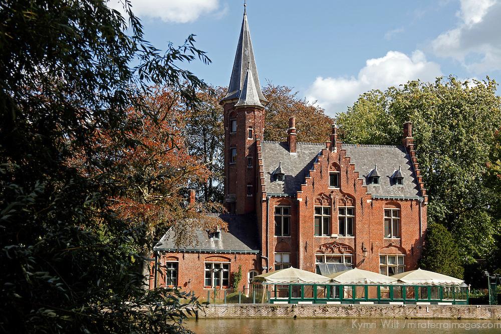 Europe, Belgium, Brugges. Brick church on Minnewater.