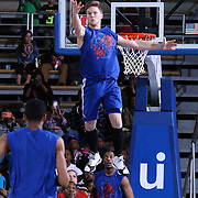 A member of Philadelphia 76ers Dunk Team performs in the third quarter of a NBA D-league regular season basketball game between the Delaware 87ers and the Grand Rapids Drive (Detroit Pistons) Saturday, Apr. 04, 2015 at The Bob Carpenter Sports Convocation Center in Newark, DEL.