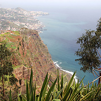 Europe, Portugal, Madeira. An overlook along the coast of Madeira.