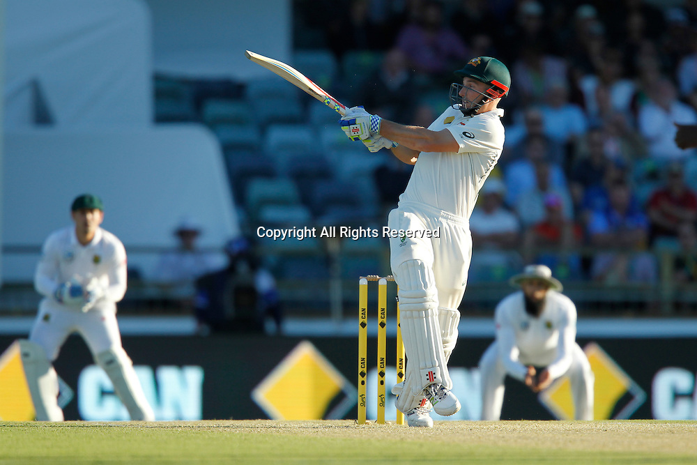 03.11.2016. Perth, Australia. International cricket, 1st Test  Day One Australia versus South Africa. Shaun Marsh plays a pull shot during his innings.