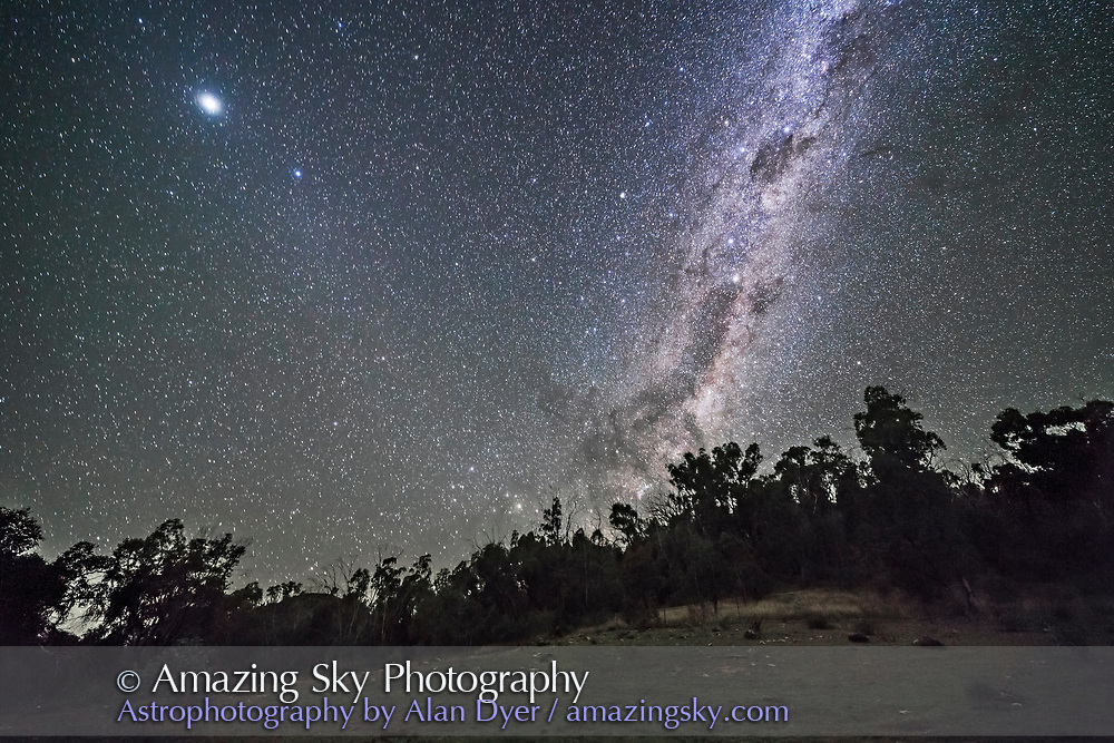 The southern Milky Way and galactic centre rising on an April night in Australia, with the Dark Emu rising. At upper left is Jupiter, and below it the diffuse glow of Gegenschein near the star Spica. <br /> <br /> This is a stack of 8 x 45-second exposures for the ground, mean combined to smooth noise, and one 45-second untracked exposure for the sky, all with the Rokinon 14m lens at f/2.5 and Canon 6D at ISO 3200. Taken as part of a 500-frame time-lapse sequence.
