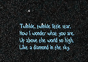 Nursery rhymes and childhood images series: Twinkle twinkle, little star, How I wonder what you are. Up above the world so high, Like a diamond in the sky.