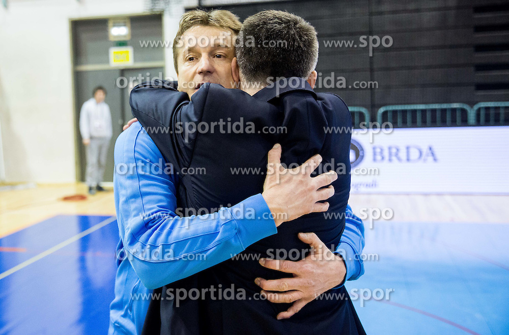 Andrej Dobovicnik, coach od Slovenia and Stane Kokalj after the futsal match between National teams of Slovenia and Spain in Play off of FIFA Futsal World Cup Colombia 2016 Qualifications, on March 22, 2016 in Arena Tabor, Maribor, Slovenia. Photo by Vid Ponikvar / Sportida