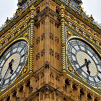 Big Ben Close Up at Palace of Westminster in London, England <br /> This four-faced tower was originally called the Clock Tower or St Stephen&rsquo;s Tower.  That changed in 2012 when the Palace of Westminster&rsquo;s famous feature was renamed Elizabeth Tower to celebrate Queen Elizabeth II&rsquo;s 60th anniversary on the throne. Regardless of those official names, it will always remain Big Ben. The clock&rsquo;s mechanism was cutting-edge technology when it was finished in 1859.  However, the speed of its 13 foot pendulum is still regulated by adding or subtracting from a stack of British pennies. Every tourist to London will snap at least one photo of this landmark. Then they are disappointed to learn it requires U.K. citizenship and a signed disclaimer before climbing the 334 stairs to the pinnacle.