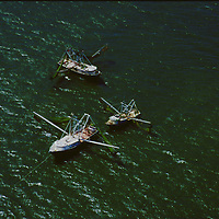 Aerial Photograph of Shrimping Boats in the Gulf of Mexico outside of Galveston, Texas