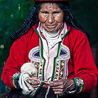 Cusco , Peru - May 26 2011 : Quechua Indian woman weaving