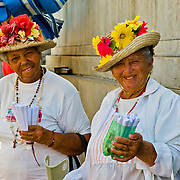 Cuban ladies in their finery in Central Havana, Havana Centro, Habana Centro, Centro Habana, Cuba.