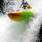 A kayaker navigates his way down BZ Falls while on a run in the Extreme Kayaking finals during the Subaru Gorge Games.