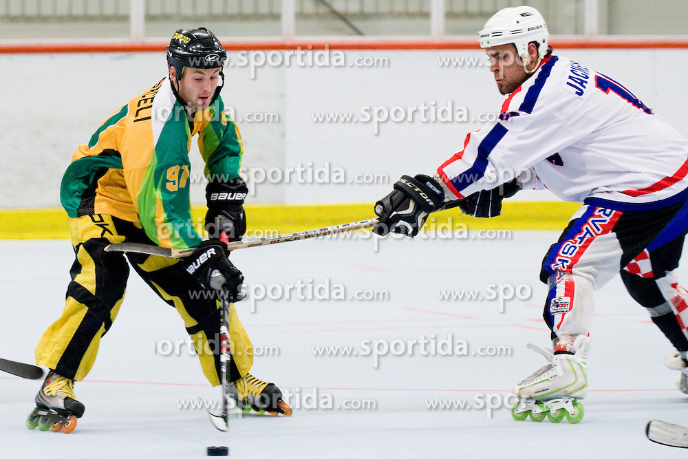 Igor Jacmenjak of Croatia with a foul (slashing) on Michael Casaceli of Australia at Game 10 of IIHF In-Line Hockey World Championships Division 1 Group match between National teams of Australia and Croatia on June 30, 2010, in Karlstad, Sweden. (Photo by Matic Klansek Velej / Sportida)