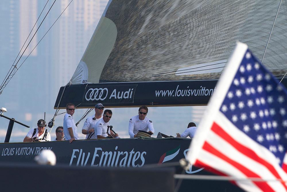Mascalzone Latino Audi Team to leeward of BMW Oracle Racing at the Louis Vuitton Trophy Dubai. Dubai, United Arab Emirates, 23 November 2010. Photo: Subzero Images/Mascalzone Latino