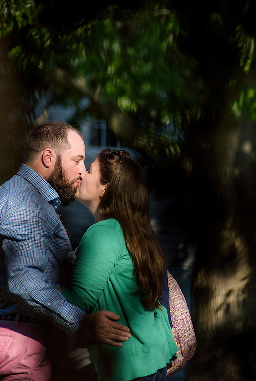 St. Michaels, Maryland - October 18, 2014: Matt Calderone proposes to Annie Lipstein by a canon in St. Michaels, MD Saturday October 18, 2014. She said yes.<br /> <br /> CREDIT: Matt Roth