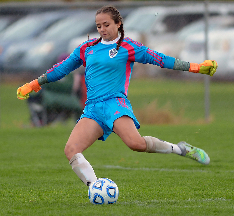 gbs110416m/SPORTS -- Academy goal keeper Mikey Montoya kicks the ball during the 5A Girl's State Soccer semifinal game with Farmington on Friday, November 4, 2016. (Greg Sorber/Albuquerque Journal)