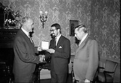 "1967 - ""Silver Bear"" award presentation at Iveagh House by Mr. Aiken to Mr. Louis Marcus"