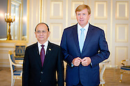 THE HAGUE King Willem-Alexander of the Netherlands receives President Thein Sein of the Myanmar at Palace Noordeinde in The Hague, The Netherlands, 9 September 2014. COPYRIGHT ROBIN UTRECHT