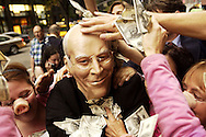 A protestor wearing a Dick Cheyney mask demonstrates in front of the Hilton Hotel in  August 31, 2004 in New York City. Halliburton was hosting a breakfast inside the hotel for the Texas delegates to the Republican National Convention.