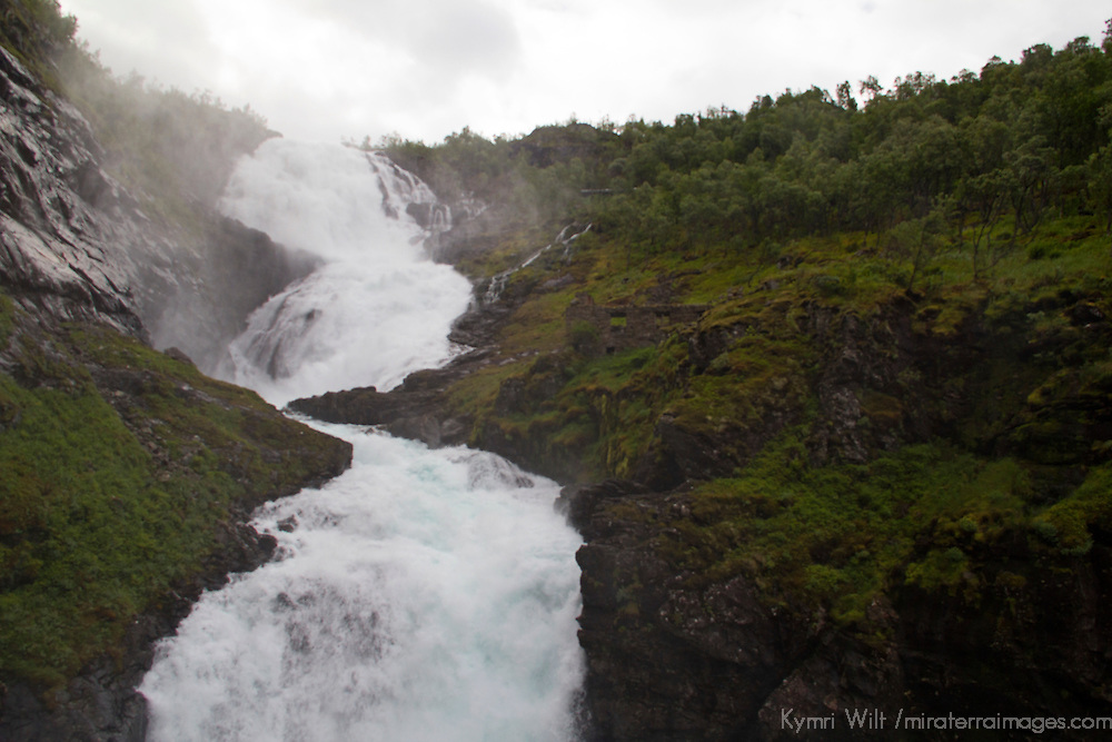 Europe, Norway, Flam. Kjosfossen Waterfall, on the Flam Line Railway.