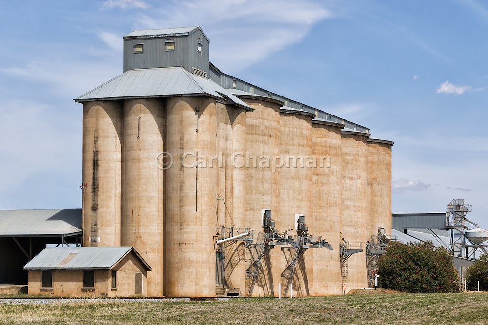 Grain silo rail transport depot in Mirrool in rural country New South Wales, Australia.
