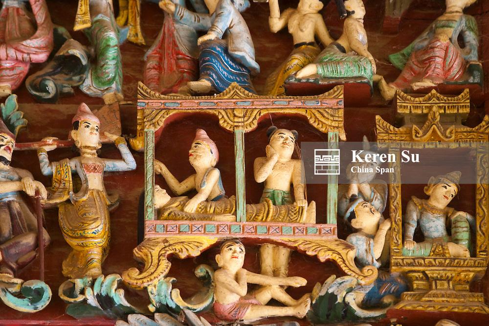 Details of wood carving in Shwezigon Pagoda, Bagan, Myanmar