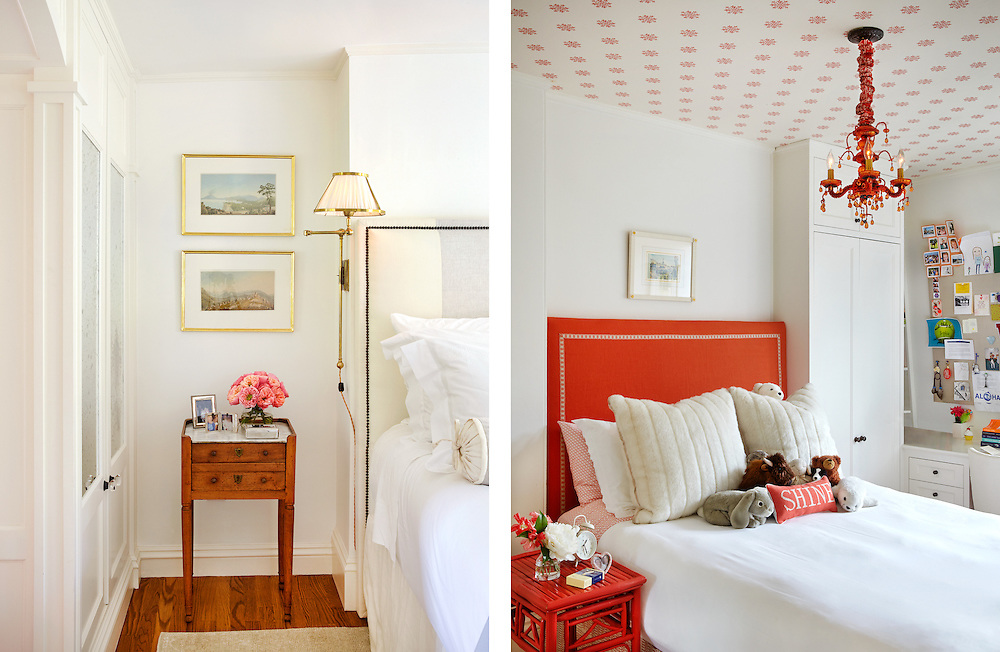 Bedroom details of Beacon Hill Townhouse. Designer: Patricia McDonagh Interior Design