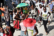 Haitians participate in a rally in the Cite-Soliel neighborhood of Port-Au-Prince, Haiti February 1, 2006. Demonstrators were protesting the United Nations' plans to have voting stations for voters outside of Cite-Soliel due to security concerns...Photo by Keith Bedford