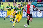 DEN HAAG - ADO Den Haag - Feyenoord , Voetbal , Eredivisie , Seizoen 2016/2017 , Kyocera Stadion , 19-02-2017 , ADO speler Donny Gorter in duel met Feyenoord speler Rick Karsdorp (r)