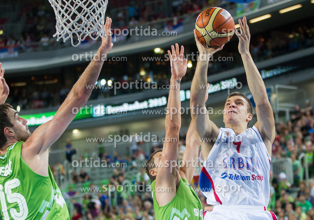 Bogdan Bogdanovic #7 of Serbia during basketball match between National teams of Serbia and Slovenia in 5th to 8th place game at Day 16 of Eurobasket 2013 on September 19, 2013 in Arena Stozice, Ljubljana, Slovenia. (Photo by Vid Ponikvar / Sportida.com)
