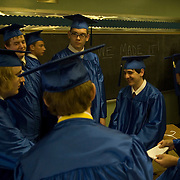 Date: 5/28/2008..Desk: CTY....Graduating seniors, including Maciej Sadowski, 18, center, facing camera with glasses, gather in a classroom before the ceremony at the Cathedral Preparatory Seminary in Elmhurst, Queens on May  28, 2008. ....photo by Angela Jimenez for The New York Times..photographer contact 917-586-0916 A story, published in The New York Times, about the last existing diocesan day high school, located in Queens, New York, in the United States for young men who are considering the vocation of the Catholic priesthood.