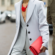 Red Clutch and Gray Jacket, Outside Armani FW2016
