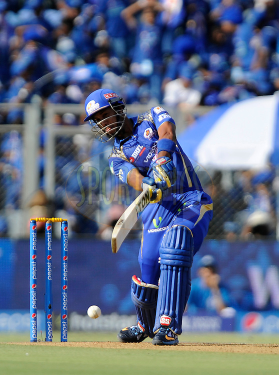 Lendl simmons of Mumbai Indians bats during match 23 of the Pepsi IPL 2015 (Indian Premier League) between The Mumbai Indians and The Sunrisers Hyferabad held at the Wankhede Stadium in Mumbai India on the 25th April 2015.<br /> <br /> Photo by:  Pal Pillai / SPORTZPICS / IPL