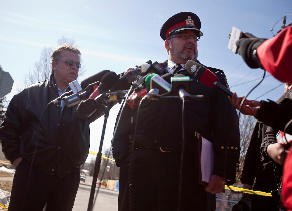 Woodstock Police chief Rod Freeman speaks to the media following the discovery of remains of one of 2 missing residents in the rubble of an apartment building in Woodstock Ontario, Wednesday, March 30, 2011. The building exploded Sunday morning.<br /> THE CANADIAN PRESS/ Geoff Robins