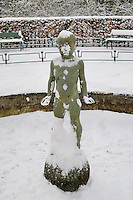 Statue of a Young Boy. Winter Art in Bergen, Norway. Image taken with a Nikon Dxs and 35 mm f/2D lens (ISO 100, 35 mm, f/5, 1/100 sec)