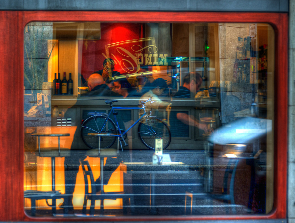 Reflections in coffee shop window