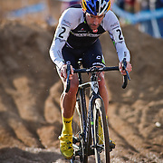 SHOT 1/12/14 4:02:53 PM - Timothy Johnson (#2) of Topsfield, Ma.  competes in the Men's Elite race at the 2014 USA Cycling Cyclo-Cross National Championships at Valmont Bike Park in Boulder, Co. Johnson finished third in the race. (Photo by Marc Piscotty / © 2014)