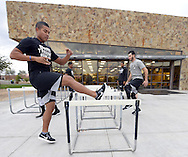 GLENDALE, ARIZONA - FEBRUARY 18:  Jose Quintana #62 and Miguel Gonzalez #58 of the Chicago White Sox work out during spring training workouts on February 18, 2017 at Camelback Ranch in Glendale Arizona.  (Photo by Ron Vesely)   Subject:  Jose Quintana; Miguel Gonzalez