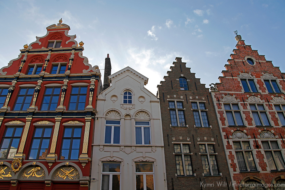 Europe, Belgium, Brugges. Stepped Gables of Brugges in the Market Square.