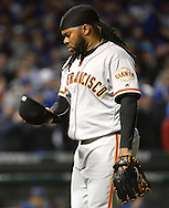 CHICAGO, IL - OCTOBER 7:  Johnny Cueto #47 of the San Francisco Giants reacts after completing the eighth inning, during which he gave up the eventual game winning home run to Javier Baez, during Game 1 of NLDS against the Chicago Cubs at Wrigley Field on Friday, October 7, 2016 in Chicago, Illinois. (Photo by Ron Vesely/MLB Photos via Getty Images) *** Local Caption *** Johnny Cueto