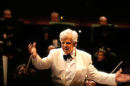 UK. London. Christoph von Dohnanyi takes the applause after contucting the Philharmonia Orchestra in Brahms Symphony No.3 in F major at the Royal Albert Hall during the BBC's Proms, in London..Photo©Steve Forrest/Workers' Photos