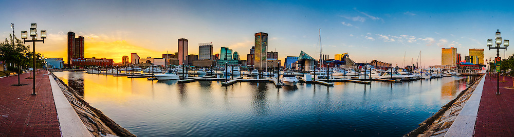 Baltimore Inner Harbor sunset panorama