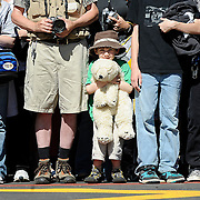 Five-year-old Gabe Sproule of Lewis Center waits patiently with a stuffed polar bear, his favorite animal, for the public grand opening of the Polar Frontier exhibit at the Columbus Zoo & Aquarium on May 6. Sproule and thousands of other visitors flocked to the zoo to be one of the first patrons to view the new exhibit.
