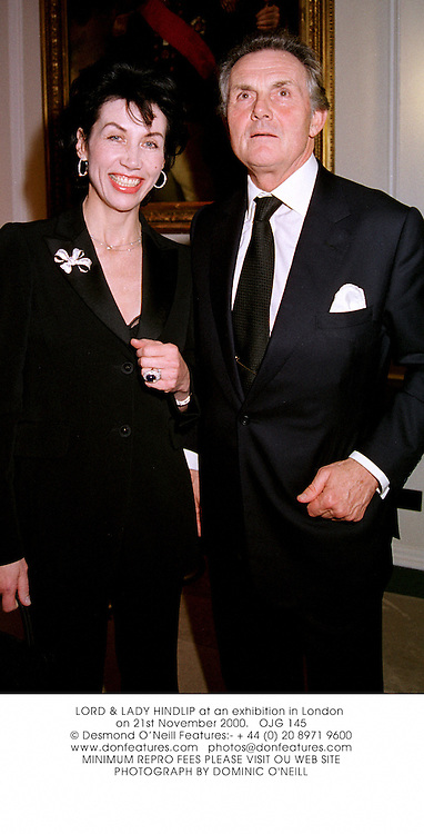 LORD & LADY HINDLIP at an exhibition in London on 21st November 2000.			OJG 145