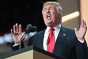 July 21, 2016 - Cleveland, Ohio: Republican Party Presidential candidate Donald Trump addresses the crowd on the final night of the Republican National Convention.