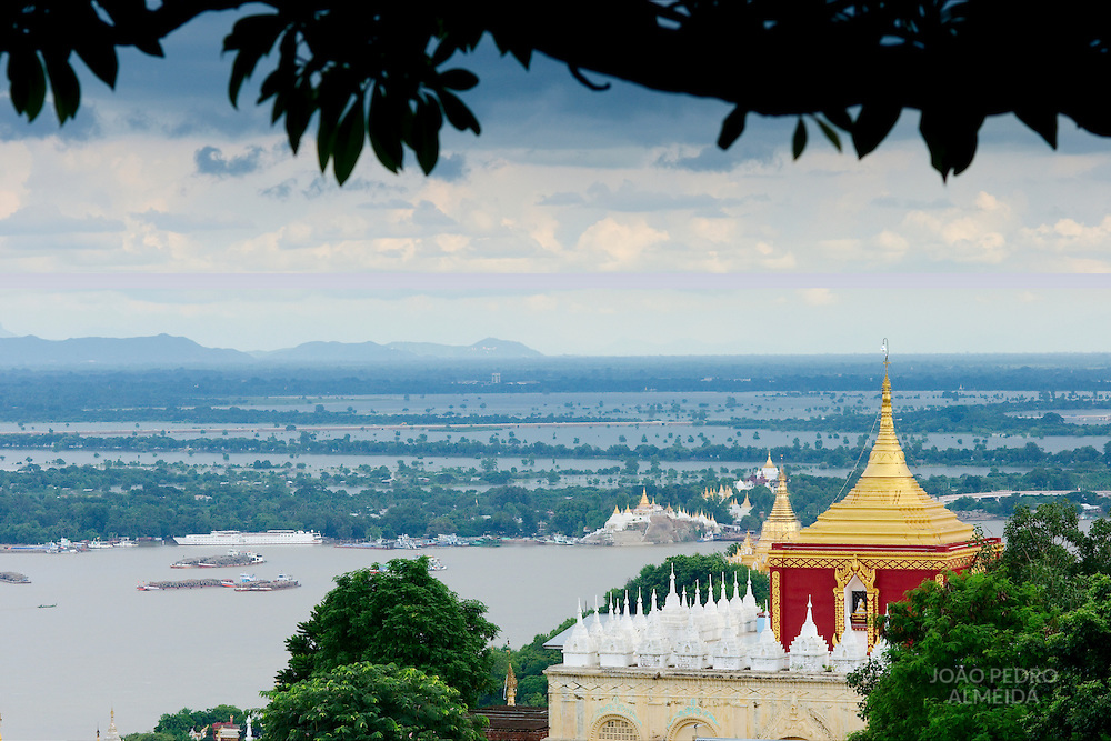 View of Irrawady river floods from Sagaing.