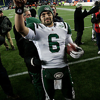 New York Jets quarterback Mark Sanchez (6) points to Jets fans while celebrating his win over the New England Patriots in the AFC division playoff game at Gillette Stadium in Foxboro, Massachusetts on January 16, 2011.  The Jets defeated the Patriots 28-21.  UPI/Matthew Healey