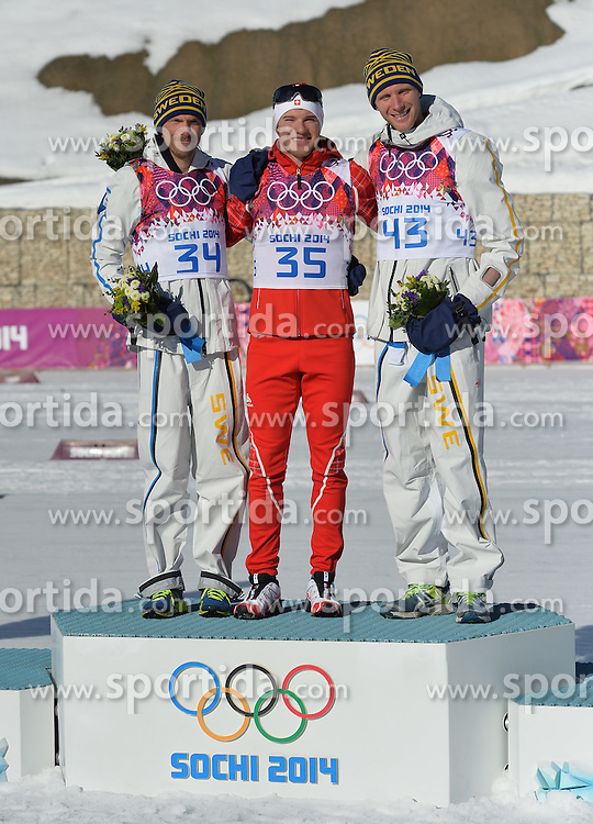14.02.2014, Laura Cross-country Ski &amp; Biathlon Center, Krasnaya Polyana, RUS, Sochi, 2014, Herren Langlauf 15km, Classic, im Bild OLSSON JOHAN COLOGNA DARIO RICHARDSSON DANIEL PODIUM // OLSSON JOHAN COLOGNA DARIO RICHARDSSON DANIEL PODIUM during Mens Cross Country 15km Classic Race of the Olympic Winter Games Sochi 2014 at the Laura Cross-country Ski &amp; Biathlon Center in Krasnaya Polyana, Russia on 2014/02/14. EXPA Pictures &copy; 2014, PhotoCredit: EXPA/ Newspix/ TOMASZ JAGODZINSKI<br /> <br /> *****ATTENTION - for AUT, SLO, CRO, SRB, BIH, MAZ, TUR, SUI, SWE only*****